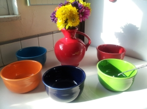 Bowl Multiples with Red Vase